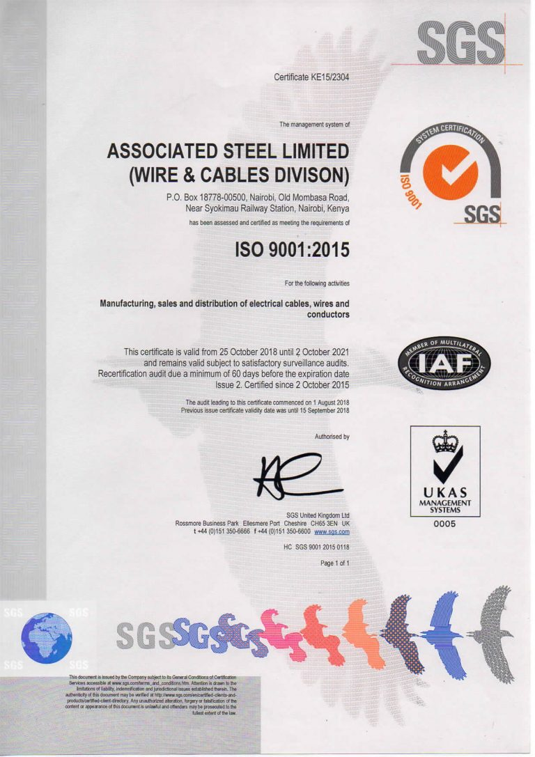 asl wire cable certification iso gets ramco surveillance conducted processes audit verification offering continue process
